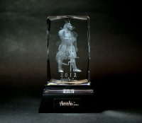 Premium Laser Crystal Figure Collection: Blue Dragon (with a light base)