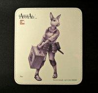 SAMURAI ANIMALS-  Leather Mouse Pad  Nina  the Rabbit Samurai *Stopped Production