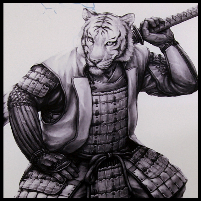 Samurai Animals White Tiger Wall Scroll Stopped
