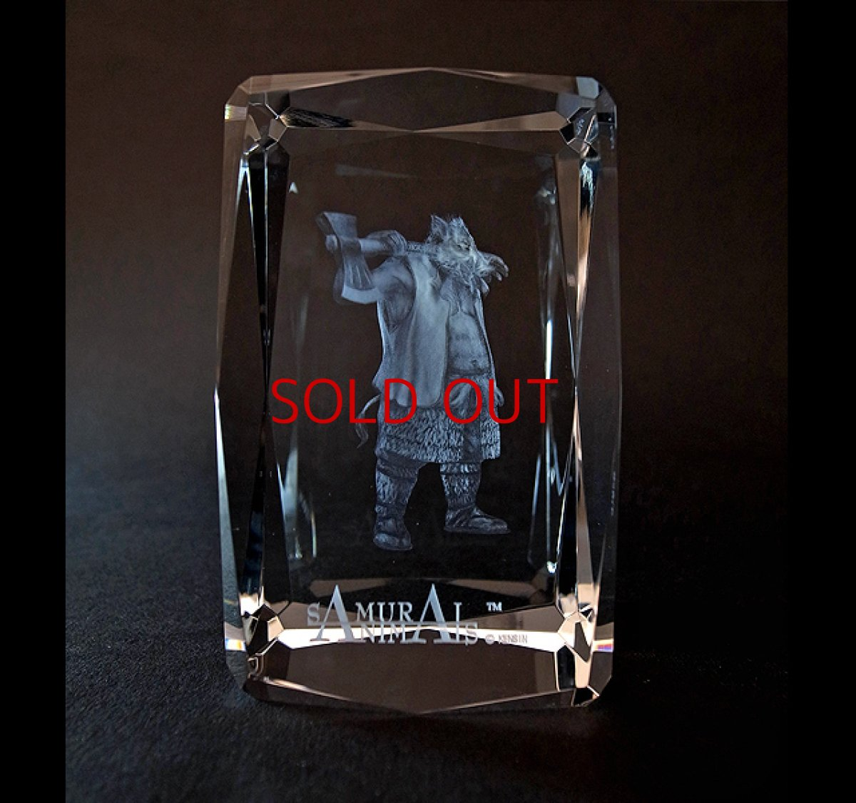 Photo1: Premium Laser Crystal Figure Collection: Silver Ax (1)