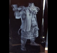Photo2: Premium Laser Crystal Figure Collection: Silver Ax (2)