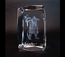Photo3: Premium Laser Crystal Figure Collection: Silver Ax (3)