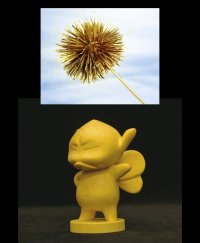 No. 116 Wooden Figurine: Hinoki Puck (Angry)/ with Golden Chestnut *Sold out!