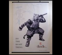 SAMURAI ANIMALS-  White Tiger  Wall Scroll *Stopped Production