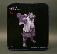 SAMURAI ANIMALS-  Leather Mouse Pad - Silver Ax the Wild Boar Samurai *Stopped Production.