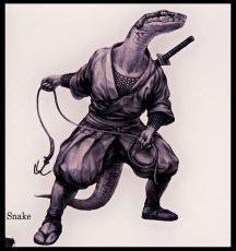 Photo2: SAMURAI ANIMALS-  Acrylic Panel Series -Snake *Stopped Production (2)