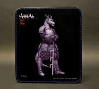 SAMURAI ANIMALS-  Leather Mouse Pad Blue Dragon  the Dragon Samurai *Stopped Production