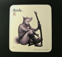 SAMURAI ANIMALS-  Leather Mouse Pad  Isis  the Dog Samurai   *Stopped Production
