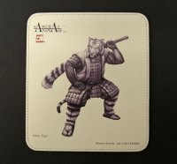SAMURAI ANIMALS-  Leather Mouse Pad  - White Tiger the Tiger Samurai *Stopped Production