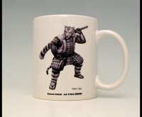 SAMURAI ANIMALS-  Mug - White Tiger the Tiger Samurai  *Stopped Production.