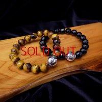 SAMURAI ANIMALS - Silver Bracelet - *Onyx Stone/Tiger's Eye Stone