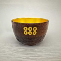 Japanese Handmade Lacquer Ware Sake Cup  (Insertion of Sanada Rokumonsen- with gold leaf)
