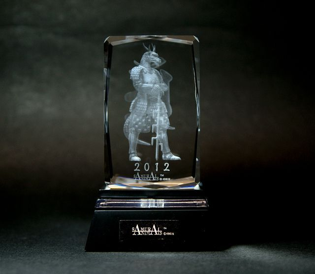 Photo1: Premium Laser Crystal Figure Collection: Blue Dragon (with a light base) (1)