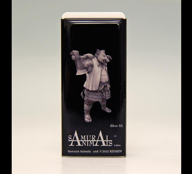 Photo1: SAMURAI ANIMALS-  FRISK  Mint Tablet Case Cover Silver Ax  the Wild Boar Samurai *Stopped Production (1)