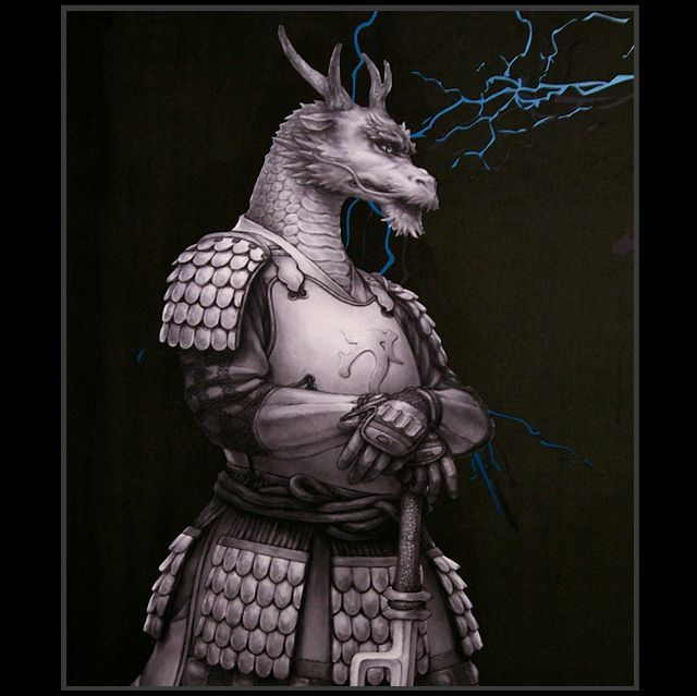 Samurai Animals Blue Dragon Wall Scroll Stopped