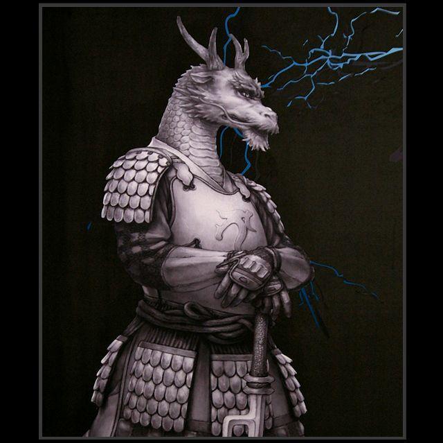 Samurai Animals Blue Dragon Wall Scroll Stopped