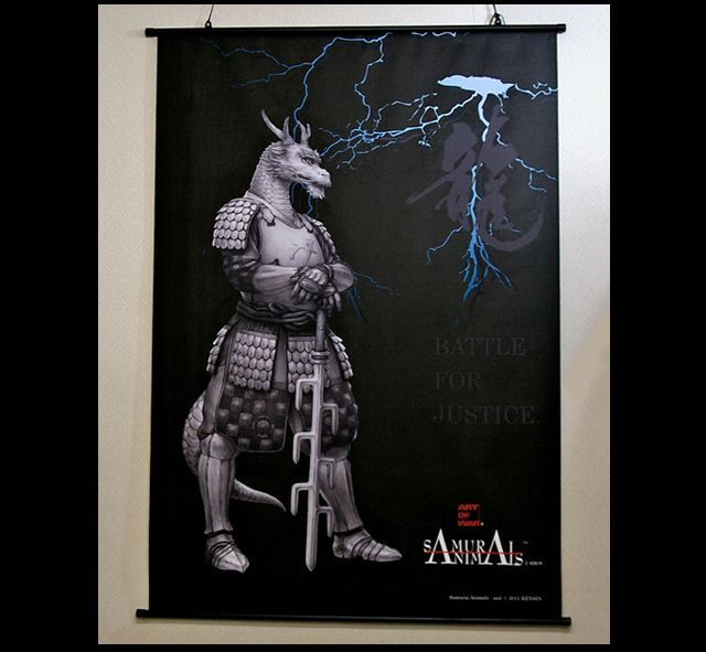 Photo1: SAMURAI ANIMALS-  Blue Dragon Wall Scroll *Stopped Production (1)