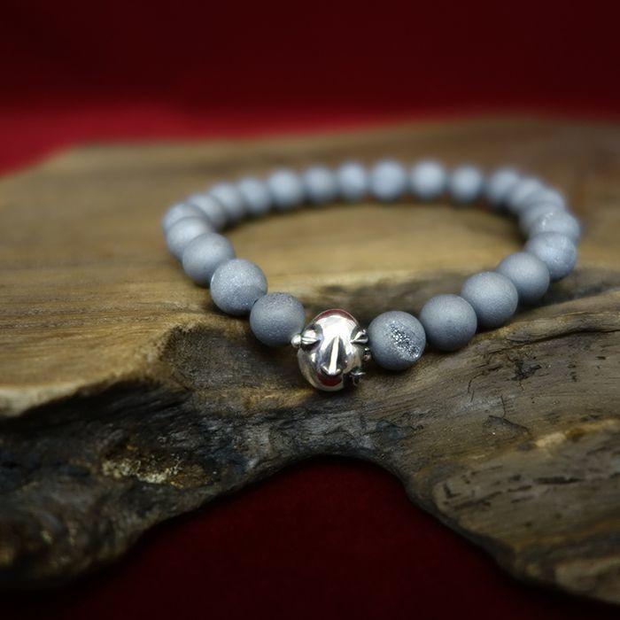 Photo1: Druzy Stone Beherit Bracelet (Egg of the King)BSS-B-03GR (1)
